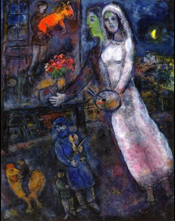 Marc Chagall, Newlyweds and Violinist, 1956