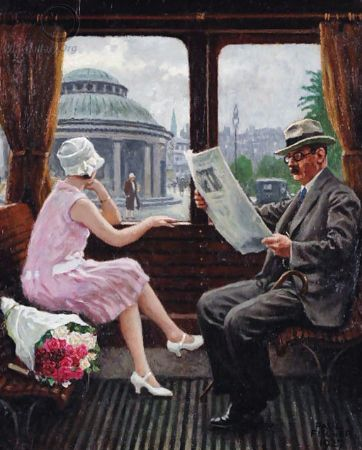 Paul Gustave Fischer, in the Train Compartment, 1927