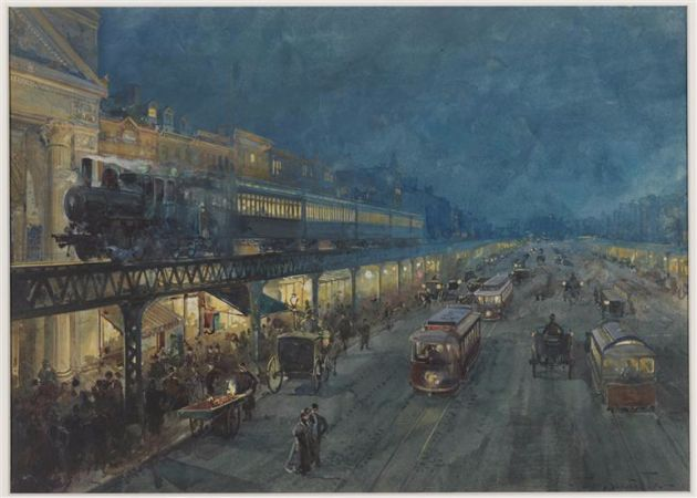 William Louis Sonntag, The Bowery At Night, 1895