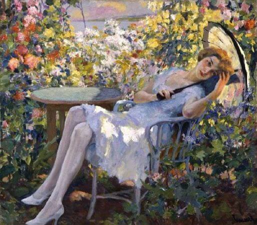 Edward Cucuel, Young Girl With A Parasol