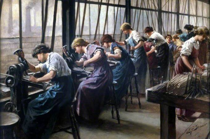 Edward Frederick Skinner, Women Workers Cutting Files, 1914-18