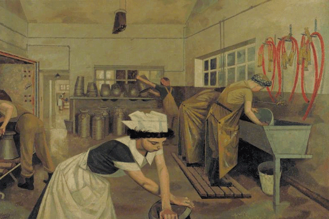 Evelyn Dunbar, Women's Land Army Dairy Training