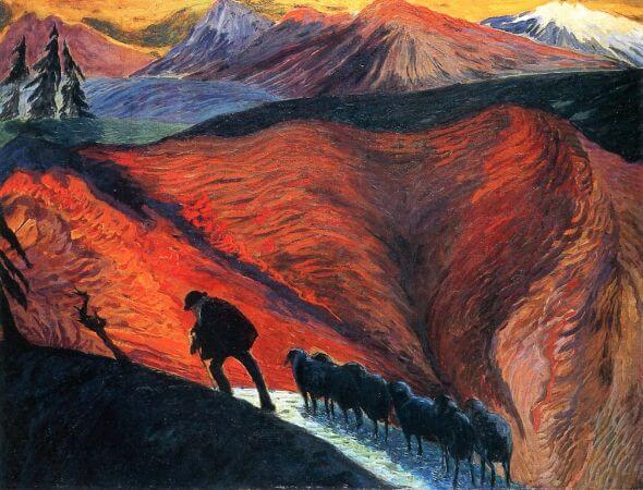 Marianne von Werefkin, Man With Flock of Sheep, 1910