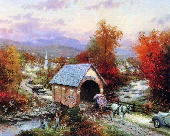 Thomas Kinkade, The Old Covered Bridge At Thomaston Brook