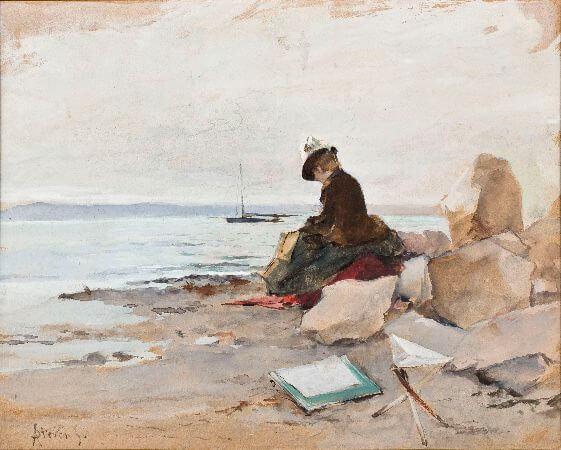 Alfred Stevens, Peintre a la plage