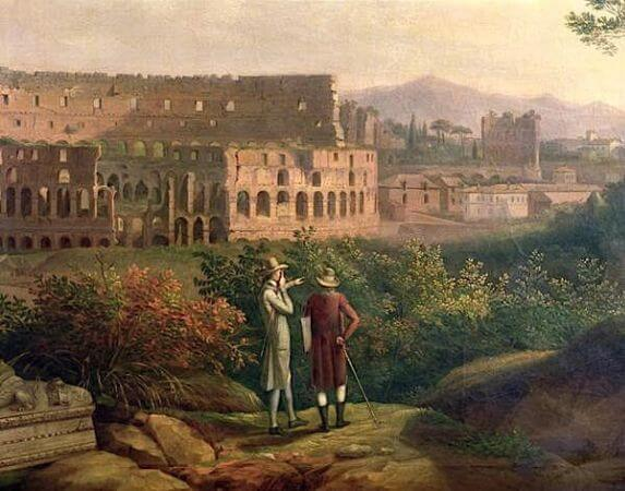 Jacob Philipp Hackert, Johann Wolfgang Von Goethe Visiting The Colosseum in Rome, 1790