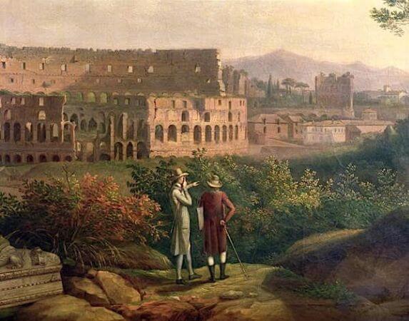 Jacob Philipp Hackert, Johann Wolfgang Von Goethe Visiting The Colosseum in Rome, 1790
