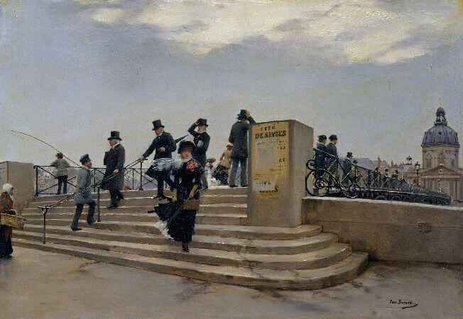 Jean Beraud - A Windy Day on the Pont des Arts, 1881