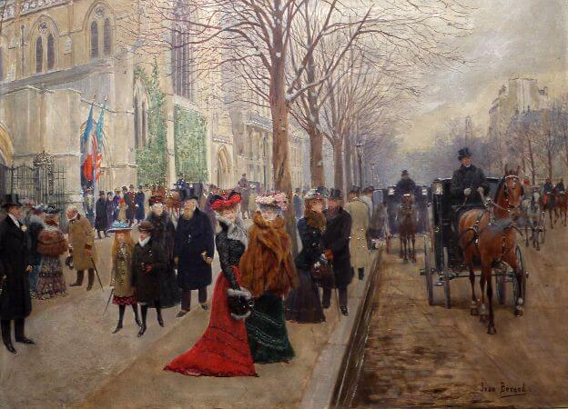 Jean Beraud - After the Service At The Church of Sainte-Trinite