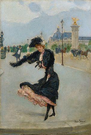 Jean Beraud - Elegante devant le Grand Palais sur le Pont Alexandre III