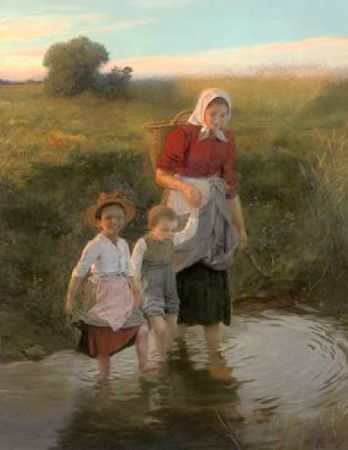 Carl Von Bergen, Crossing The Stream At The End of The Day, 1899
