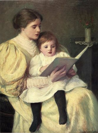 Frederick Warren Freer, Mother and Child Reading, 1896