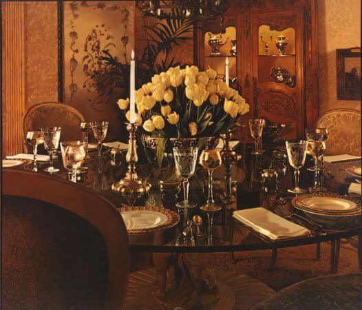 Jack Mendenhall, Yellow Tulips And Dinner Setting, 1981