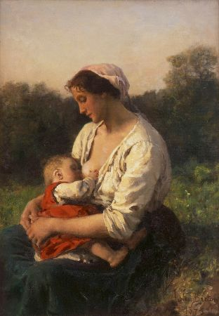Jules Breton, Young Woman Nursing Her Child, 1873