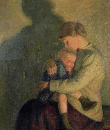 Sir William Rothenstein, Mother And Child Candlelight