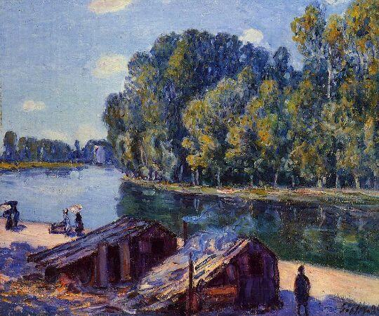 Alfred Sisley, Cabins along the Loing Canal, Sunlight Effect, 1896