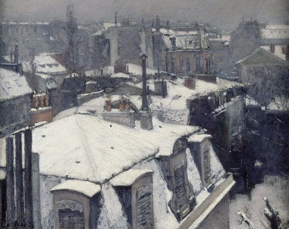 Gustave Caillebotte, Rooftops In The Snow (snow effect), 1878