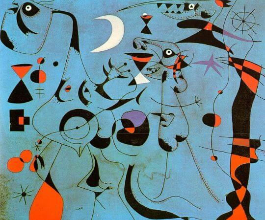 joan miro, Figures At Night Guided By The Phosphorescent Tracks of Snails, 1940