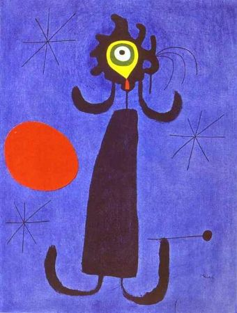 joan miro, Woman In Front Of The Sun, 1950