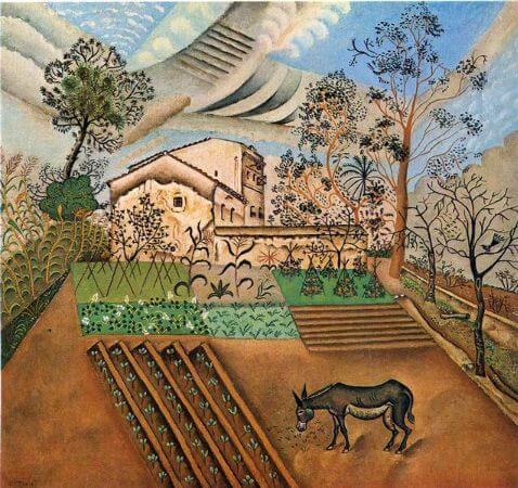 joan miro, the vegetable garden with donkey, 1918
