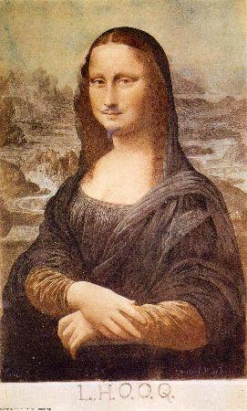 Marcel Duchamp , L.H.O.O.Q, Mona Lisa With Moustache, 1919