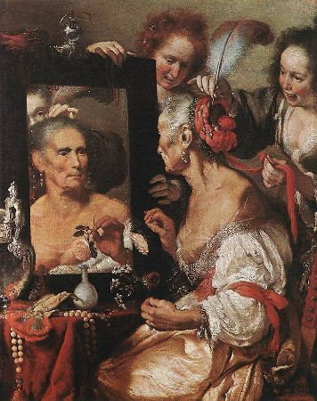 Bernardo Strozzi, Old Woman At The Mirror, 1615