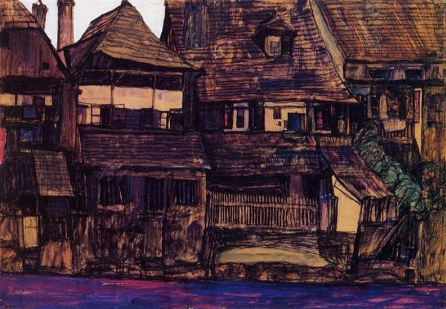 Egon Schiele, Houses On The Moldau, Krumau, 1910