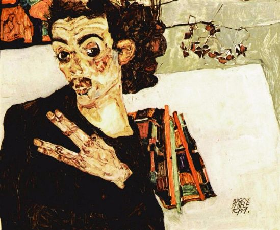 Egon Schiele, Self Portrait with Black Vase and Spread Fingers, 1911