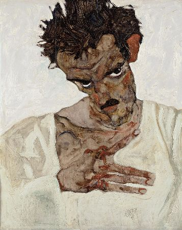 Egon Schiele, Self Portrait with Lowered Head, 1912