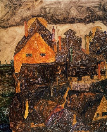 Egon Schiele, The Old City (Krumau), 1912