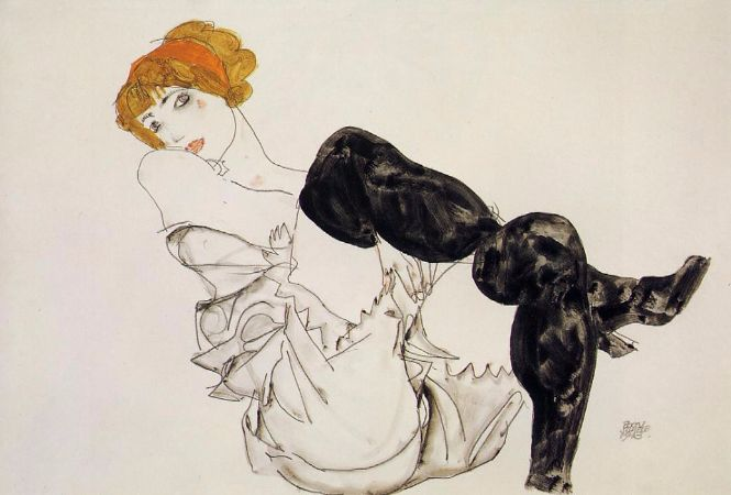 Egon Schiele, Woman In Black Stockings, 1913
