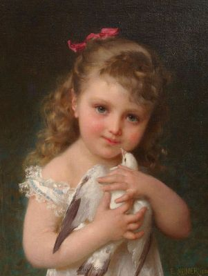 Emile Munier, Girl Holding A Dove, 1886