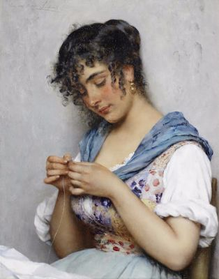 Eugene de Blaas, The Italian Seamstress