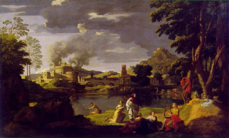 Nicolas Poussin, Landscape With Orpheus and Eurydice, 1659