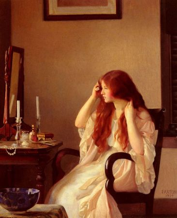 William McGregor Paxton, Girl Combing Her Hair, 1909