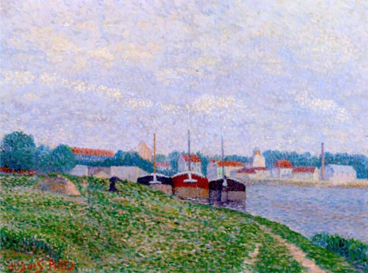 Albert Dubois-Pillet, Trois Péniches amarrées aux abords d'une ville industrielle, 1886