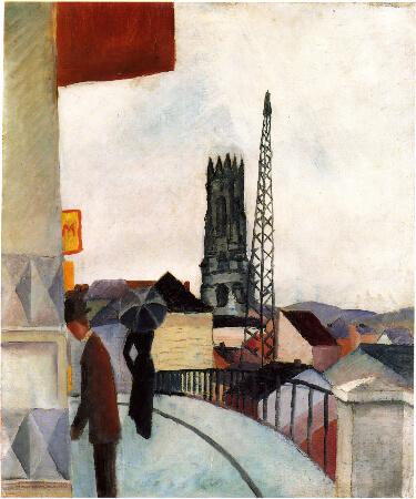 August Macke, Kathedrale zu Freiburg in der Schweiz, 1914