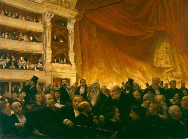 Edouard Joseph Dantan, Un entracte a la Comedie-Francaise un soir de premiere, 1885