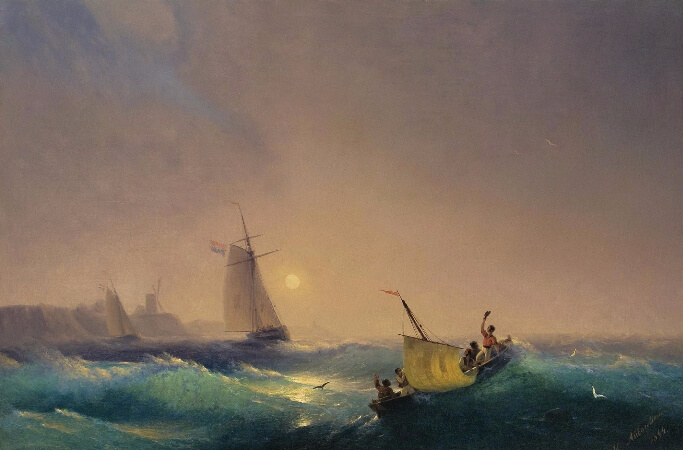 Ivan Konstantinovich Aivazovsky, Departure from Dutch Coast, 1844