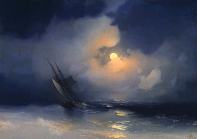 Ivan Konstantinovich Aivazovsky, Storm At Sea On A Moonlit Night, 1849