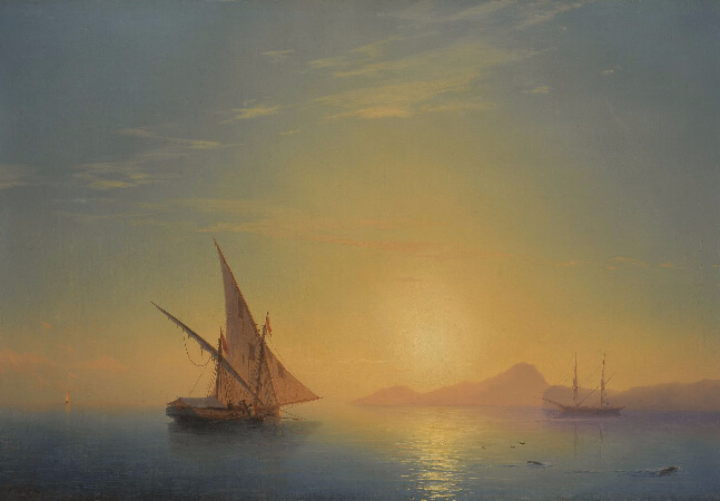 Ivan Konstantinovich Aivazovsky, The Island of Ischia At Sunset, 1857