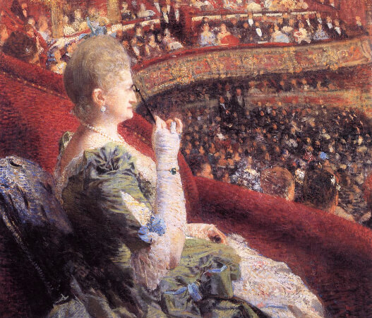 Theo van Rysselberghe, Madame Edmond Picard in Her Box at Theatre de la Monnaie, 1886