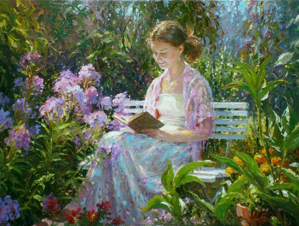 Barbara Jaskiewicz, Girl Reading In The Garden