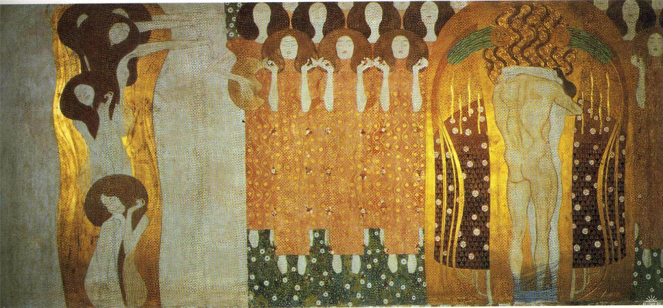 Gustav Klimt, The Beethoven Frieze, The Longing For Happiness Finds Repose Poetry, 1902