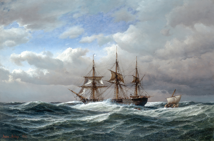 Anton Melbye, Ankunft des Lotsenbootes, 1867