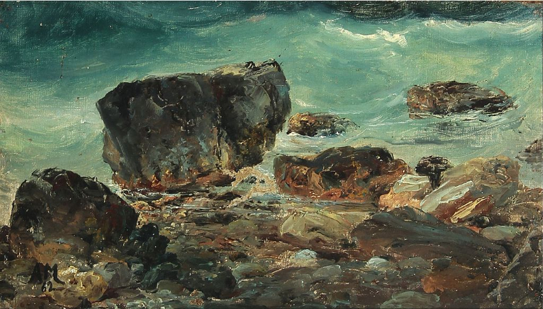 Anton Melbye, Coastal Scene With Larger Rocks, 1862