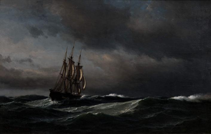 Anton Melbye, Die Danische Kriegsfregatte Thetis Im Adriatischen Meer, 1864