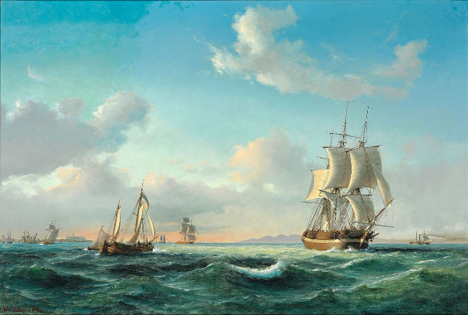Anton Melbye, Numerous Sailing Ships At Sea, 1849