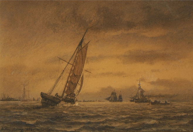 Anton Melbye, Numerous Sailing Ships At Sea, 1858