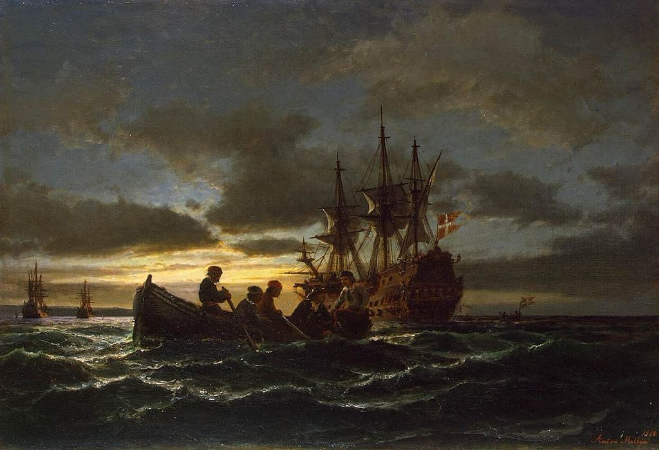 Anton Melbye, Sea At Night, 1865